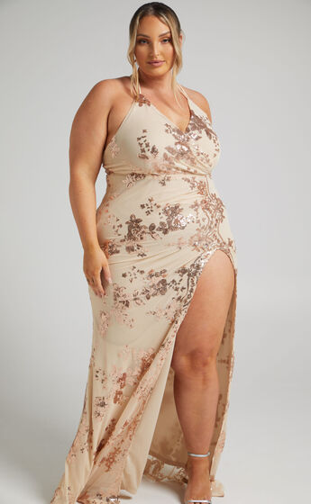 Out Till Dawn Split Maxi Dress in Rose Gold Sequin