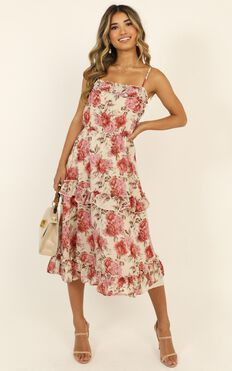 Taking Chances Dress In Rose Floral