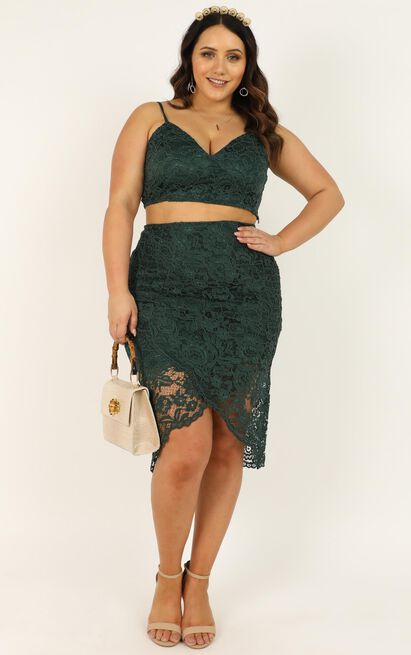 Unreal Being Two Piece Set in emerald lace - 20 (XXXXL), Green, hi-res image number null