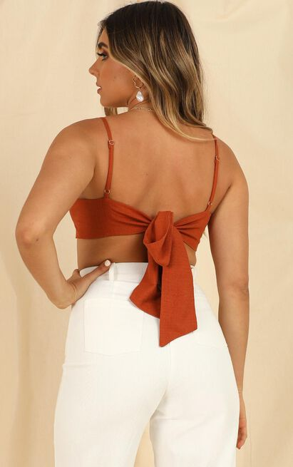 Miracle Mile top In rust linen look - 14 (XL), Rust, hi-res image number null