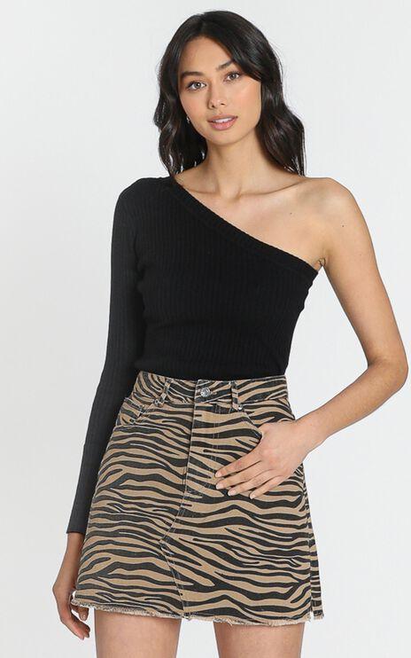 Marley Denim Mini Skirt in Beige Print