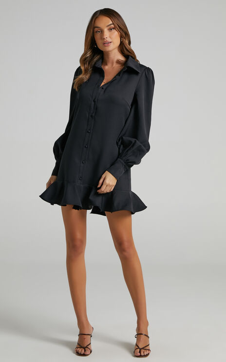 Mica Frill Hem Shirt Dress in Black