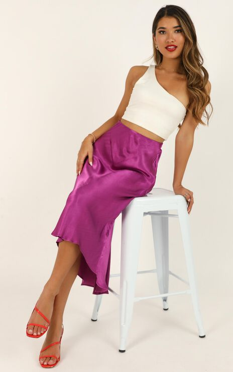Closing Thought Skirt In Purple Satin