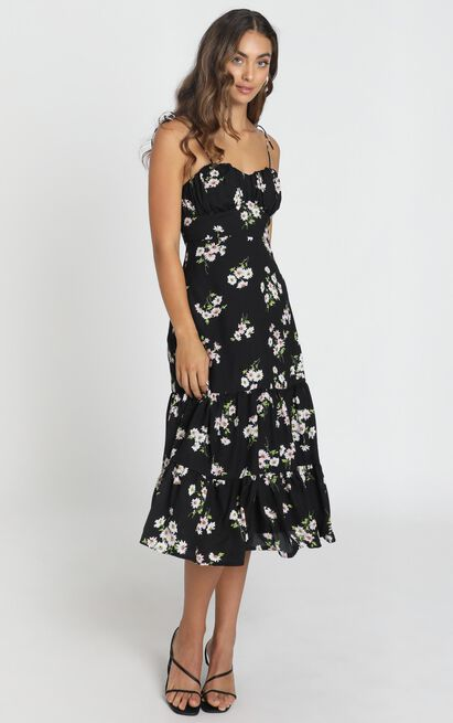 Quit Talking Dress in black floral - 6 (XS), Black, hi-res image number null