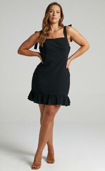 Coastal Getaway Tie Strap Mini Dress in Black
