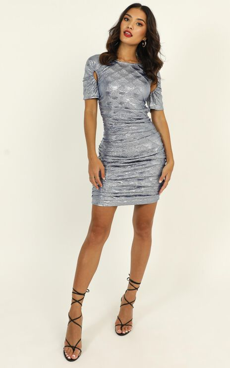 Lioness - Just An Option Dress In Blue Metallic