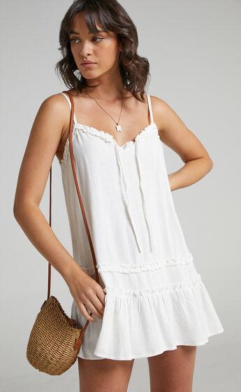 Olinda Ruffle Trim Mini Dress in White Linen Look