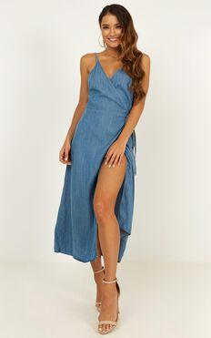 Perfect Remedy Denim Dress In Mid Wash
