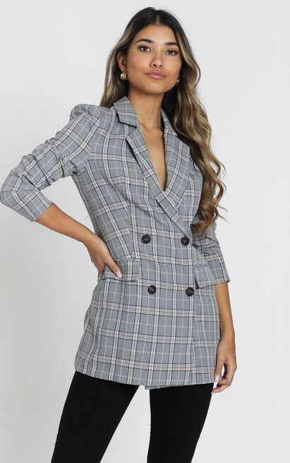 All grown up Blazer in grey check - 20 (XXXXL), Grey, hi-res image number null