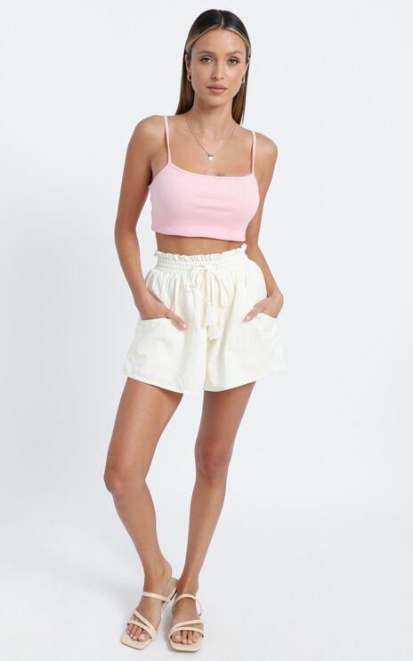 Saige Shorts in Cream Linen Look
