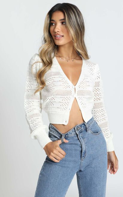 A Few Too Late Cardigan in white - 20 (XXXXL), White, hi-res image number null