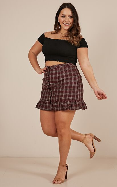 Money On Me Skirt in wine check - 14 (XL), Wine, hi-res image number null