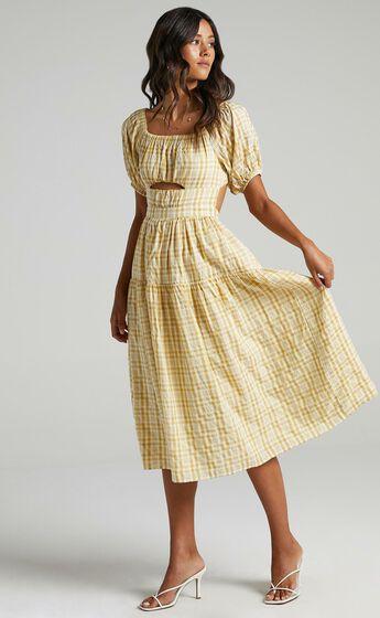 Helina Dress in Mustard Check