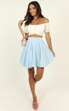 Pretty Damn Good Skirt In Blue Linen Look