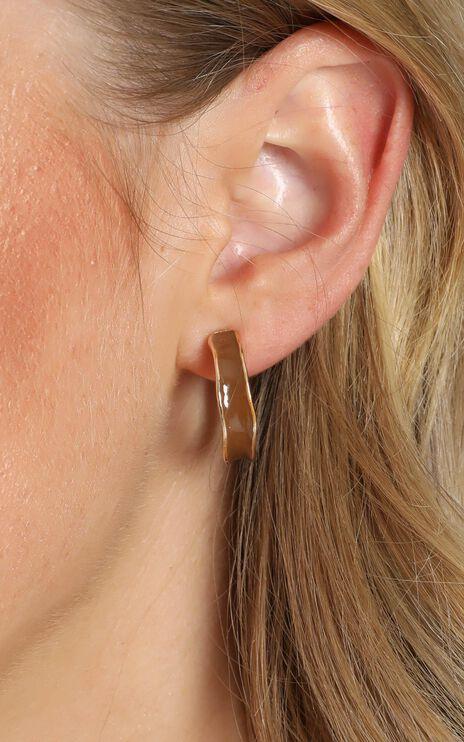 Travel List Hoop Earrings in Gold and Tan