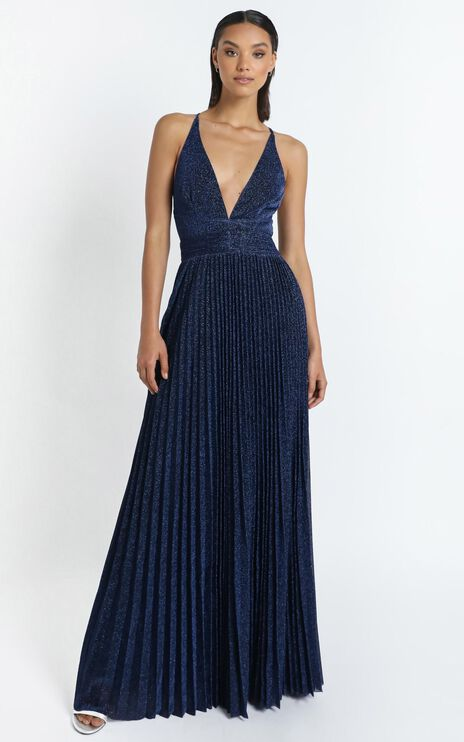 Win The Lotto Maxi Dress In Navy Lurex