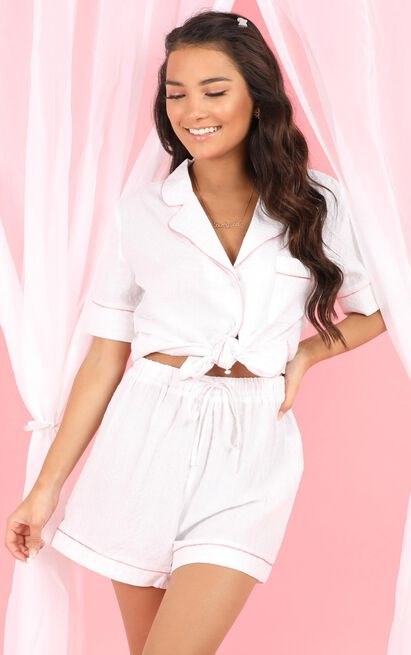 Dont Wake Me Pyjama Shorts In White Gingham - 20 (XXXXL), White, hi-res image number null