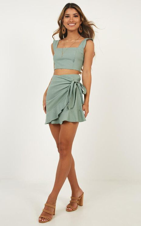 Royal Power Two Piece Set In Sage Linen Look