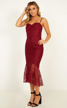 Crave Devotion Dress In Wine Lace