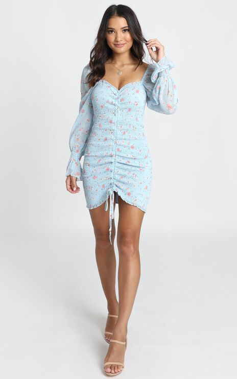 Kelly Ruched Mini Dress In Blue Floral