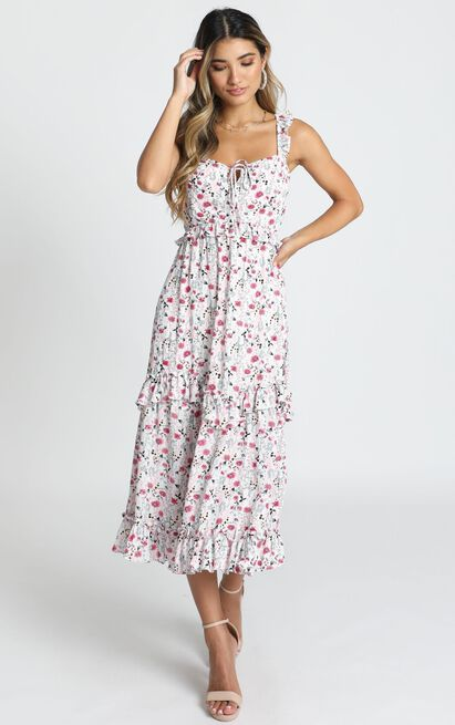 Calista Maxi Dress in white floral - 14 (XL), White, hi-res image number null