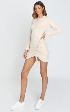 Casual Luxe Knit Dress in Beige