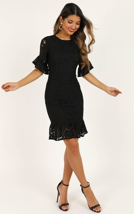 Cant Go Back Dress In Black Lace