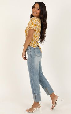 Eva Jeans In Mid Blue Wash Denim