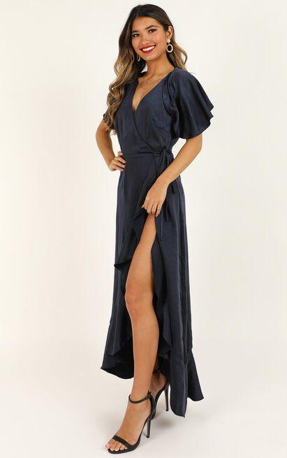 Wrap It Dress in navy satin - 20 (XXXXL), Navy, hi-res image number null