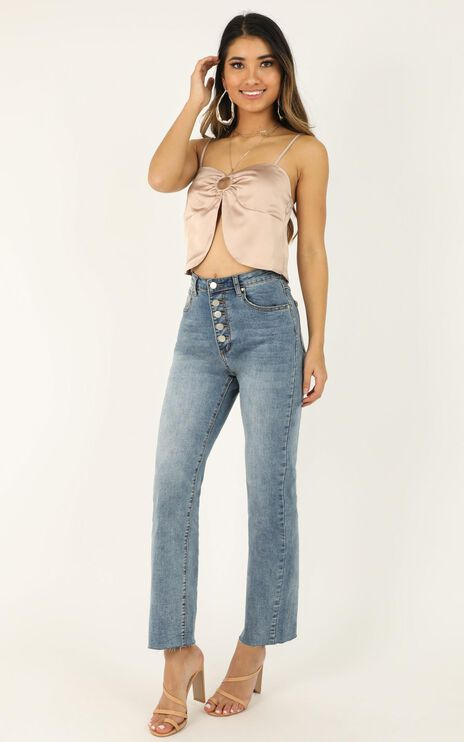 Let It Be Known Top In Blush Satin