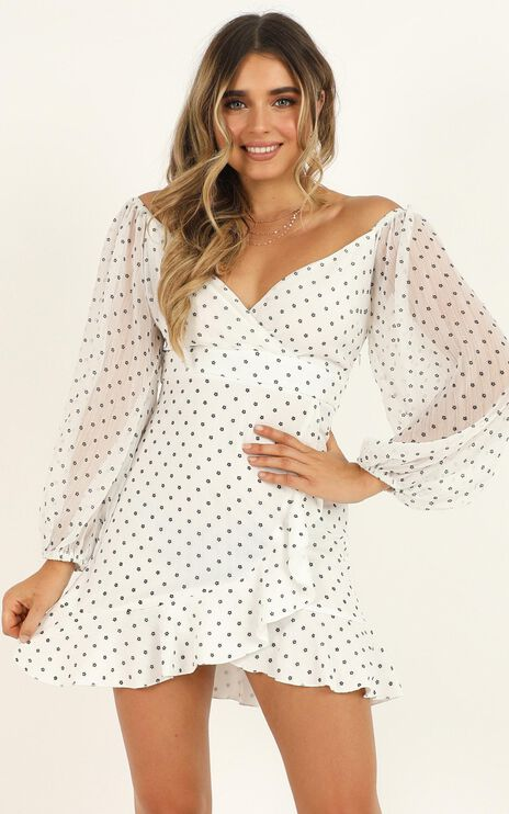 You Are Such A Dream Dress in White Flocked Spot
