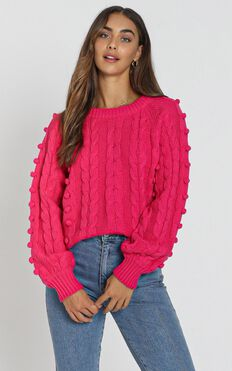 Brianna Bobble Knit In Hot Pink