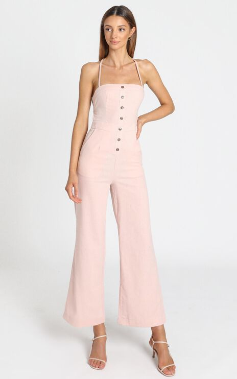 Make Me Yours Jumpsuit in Blush Linen Look