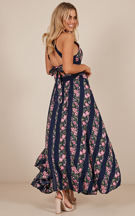 Run Alone Maxi Dress In Navy Floral