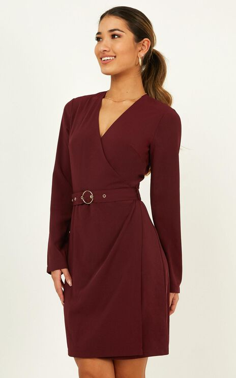 On Task Dress In Aubergine