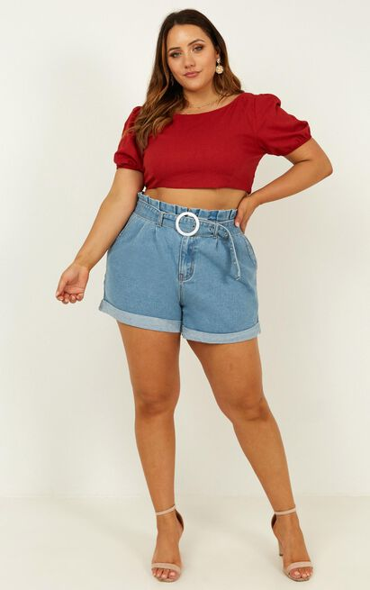 Shot Down Top in chilli linen look - 20 (XXXXL), Red, hi-res image number null