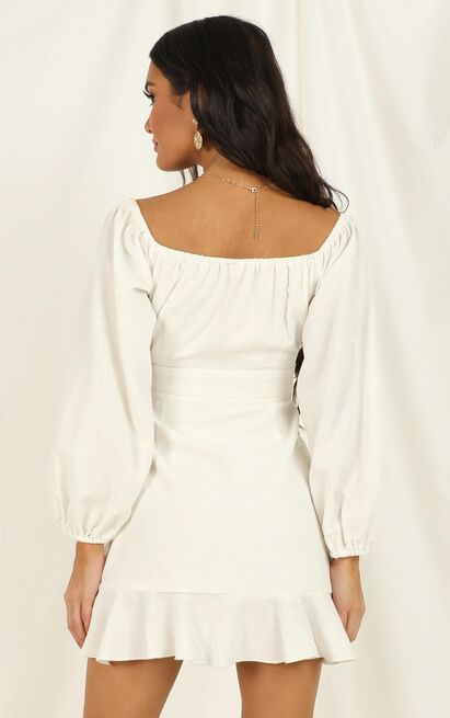 Cant Move On Dress in white linen look - 20 (XXXXL), White, hi-res image number null