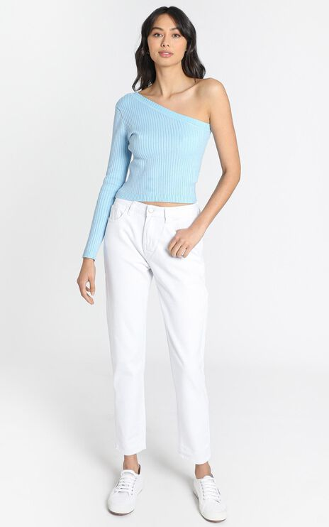 Larisa Asymetric Knit Top in Blue
