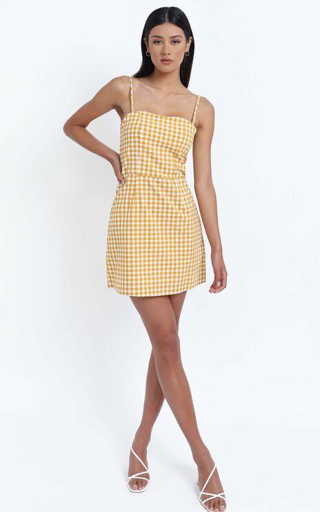 Ali Dress in Mustard Gingham Check