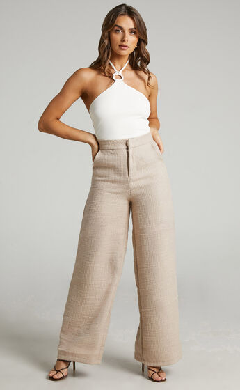 Walters Wide Leg High Waist Tailored Pants in NEUTRAL