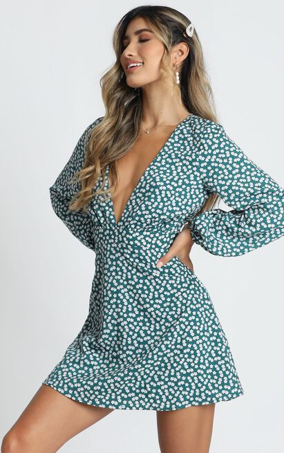 Lace Me Up Dress In Emerald Floral - 4 (XXS), Green, hi-res image number null