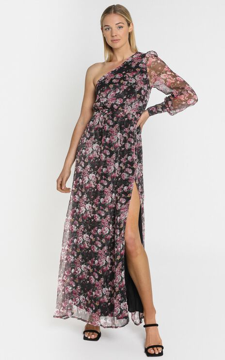 Leona One Shoulder Maxi Dress In romantic black floral
