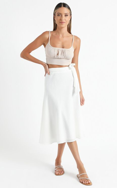 Ready Or Not Skirt In White Linen Look