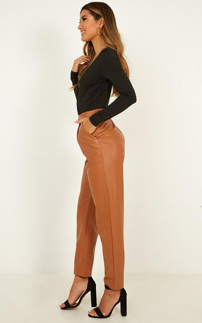 Wanna Hold You Pants In tan leatherette - 20 (XXXXL), Tan, hi-res image number null