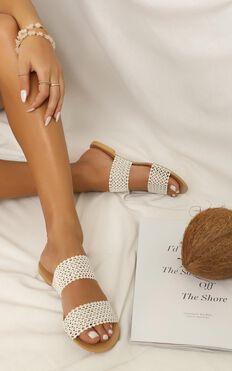 Showpo X Billini - Capri Slides In White Woven