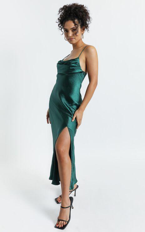 Monica Dress In Emerald Satin