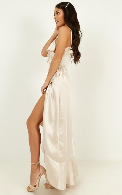 Wrapped up dress in champagne - 12 (L), Beige, hi-res image number null