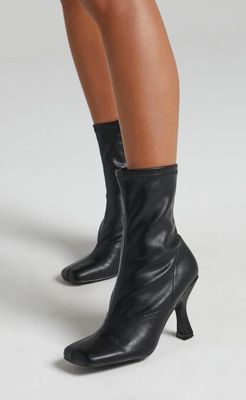 Public Desire - Violate Boots in Black PU
