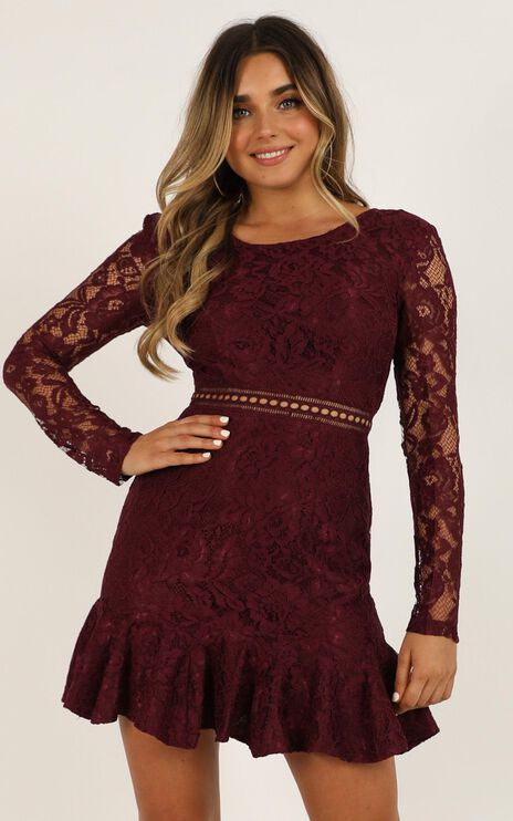 I Belong Dress In Wine Lace