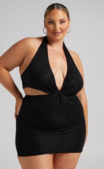 Anniebelle Twist Knot Mini Dress in Black